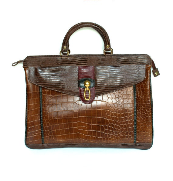 Vintage 80s Large Brown Alligator Leather Brief Case