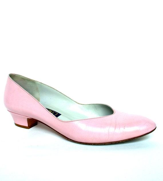 Vintage 80s Pink Leather Pumps 8 Vtg 1980s Pink Heels Shoes 8
