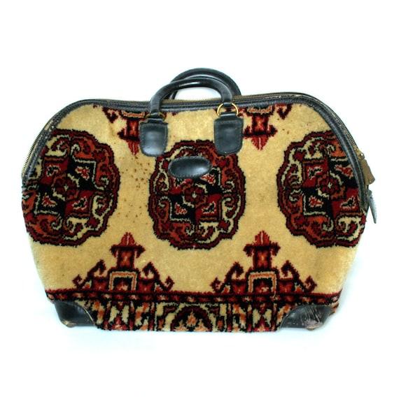 FREE SHIPPING Vintage Mark CROSS Black Leather Travel Bag Vtg Tapestry Luggage Kilim Travel Bag