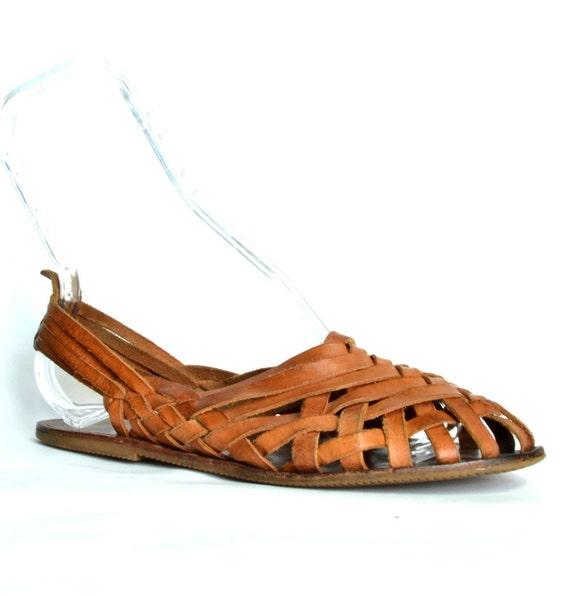 Vintage SAM and LIBBY Brown Leather Huarache Sandal 7.5