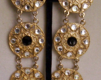 Vintage Tiered Glittering Over 4 Inch Long Disk Clips Ca. 1980