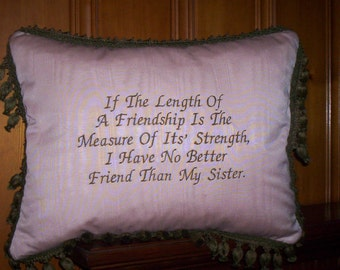 "Sister & Friendship 18""x14"" Custom Pink Moire Pillow"