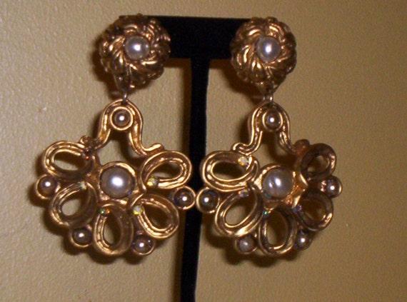 Reserved For Nina Jones:80's Vintage Claire Deve, Paris, Huge Chandelier Pearl, Crystal & Gold Clip Earrings