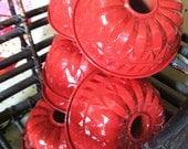 Vintage Red Enameled Aluminum Bundt Cake Pan mold Set of 6