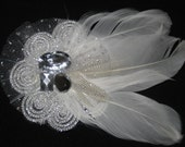 """Lovely Bridal """"Feathers and Sparkles"""" White Lace and Feather Hair Fascinator -- Hair Piece -- Pin"""