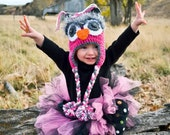 owl hat, fuzzy eyes, pom poms, custom colors available