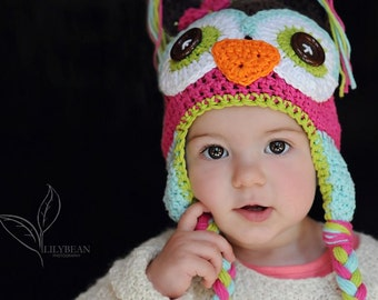 crochet owl  hat, owl hat, crochet kids hat, custom colors
