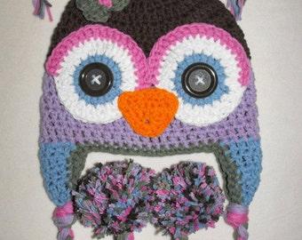 crochet owl hat, crochet baby hat, owl hat
