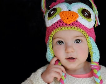 crochet owl hat, owl hat, crochet baby hat