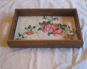 Decorative Serving Tray lined with Antique Wallpaper