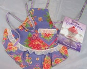 Tea Party Apron in Bright Lilac and Salmon Print