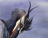 ORIGINAL Watercolor Painting of Preening Great Blue Heron, wildlife art, nature, bird painting, wall art home decor, blue, bird art original