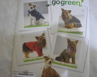 Simplicity 2695 Size A XS S M Dog Clothing Coat