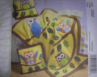 McCall's 6482 Owl Pillow and Quilt Craft Pattern Owl Quilt Quilting Pillow Applique Uncut