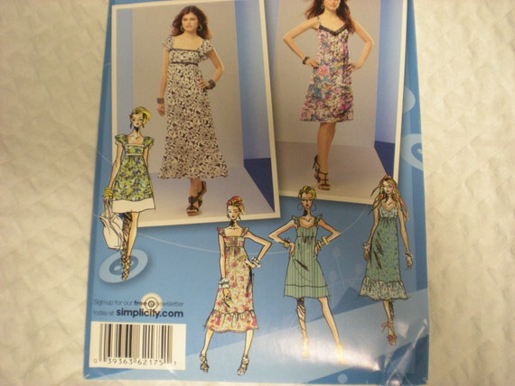 Project Runway Short or Long Sundress Pattern Simplicity 2175 Size 12-20