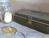 Tackle Box / Tool Box / Lunch Box with Fishing Accessories / Olive Green Metal Box from Portabello