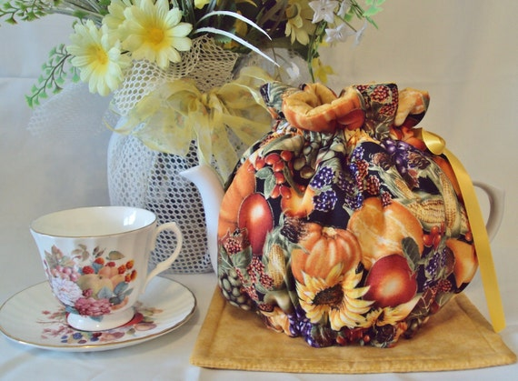 Teapot Cozy 6 to 8 cup Harvest print on sale