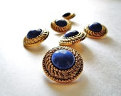 VINTAGE: 6 Retro Snap Together Plastic Buttons- Gold and Sapphire Blue Retro Buttons - 80's