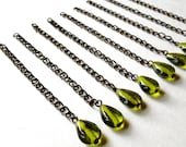 VINTAGE:  9 Olive Green Teardrop Glass Bead Charms Hanging from a Brass Chain