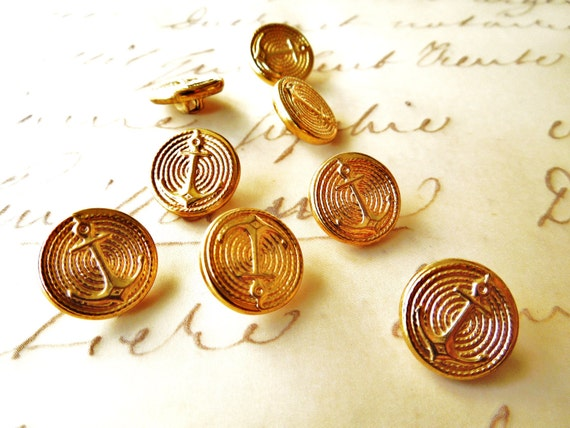 VINTAGE: 8 Shank Nautical Anchor Metal Buttons - Gold Nautical Buttons