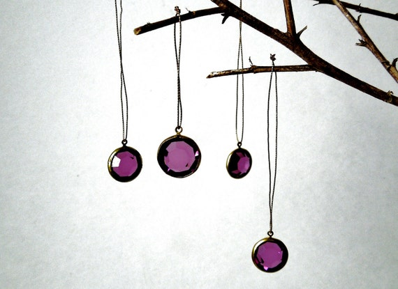 VINTAGE: 8 Dream Swarovski Purple Rhinestone Crystal Charms/Pendants - Brass Setting - (11-A4-00005326)