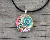 Domed Glass Tile Pendant - Original Art by Heather Montgomery