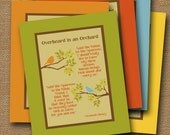 """Instant Download - Christian Printable Poem Wall Art DIY PRINTABLE """"Overheard in an Orchard"""" (""""Said the Robin to the Sparrow"""") 8x10 Poster"""