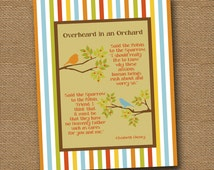 """Instant Download - Christian Poem Wall Art DIY PRINTABLE """"Overheard in an Orchard"""" (""""Said the Robin to the Sparrow"""") 8x10 Striped Border"""