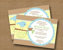 Bird Baby Shower Invitation DIY PRINTABLE Baby Boy Christian Scripture Bible Verse (Design 2 of 2)