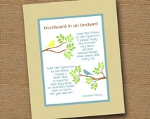 """Instant Download - Christian Printable Poem Wall Art DIY PRINTABLE """"Overheard in an Orchard"""" (""""Said the Robin to the Sparrow"""") 8x10 Neutrals"""