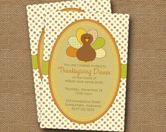 PRINTABLE DIY Turkey Thanksgiving Invitation Design