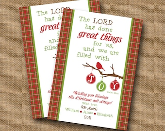 "Printable Christmas Card | DIY PRINTABLE | ""Filled with Joy"" Christian, Scripture, Christmas Bible Verse Card 