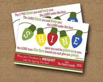 """Printable Christmas Card DIY PRINTABLE """"SHINE"""" Christmas Lights Christian Scripture Bible Verse Christmas Card"""