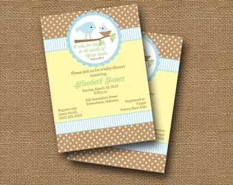 Bird Baby Shower Invitation DIY PRINTABLE Baby Boy Christian Scripture Bible Verse (Design 1 of 2)