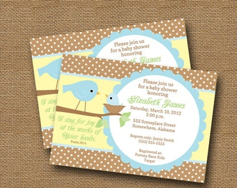 Bird Baby Shower Invitation | Baby Boy Shower Invite | Christian Baby Shower | Christian, Scripture, Bible Verse Invitation | DIY PRINTABLE