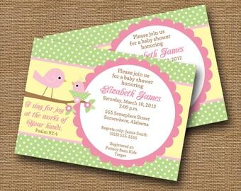 Bird Baby Shower Invitation DIY PRINTABLE Baby Girl Christian Scripture Bible Verse (Design 2 of 2)