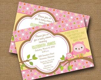 Owl Baby Shower Invitation DIY PRINTABLE Baby Girl Christian Scripture Bible Verse (Design 1 of 2)