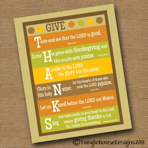 Give Thanks Thanksgiving Printable Wall Art DIY PRINTABLE 8x10 Thanksgiving Scripture Bible Verse Poster