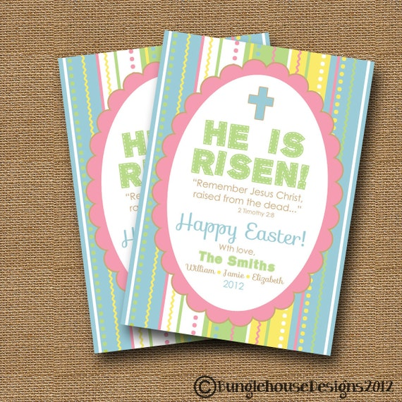 "Printable Christian Easter Card | DIY PRINTABLE | Inspirational Easter Scripture, Bible Verse Printable Card | ""He is Risen"" 