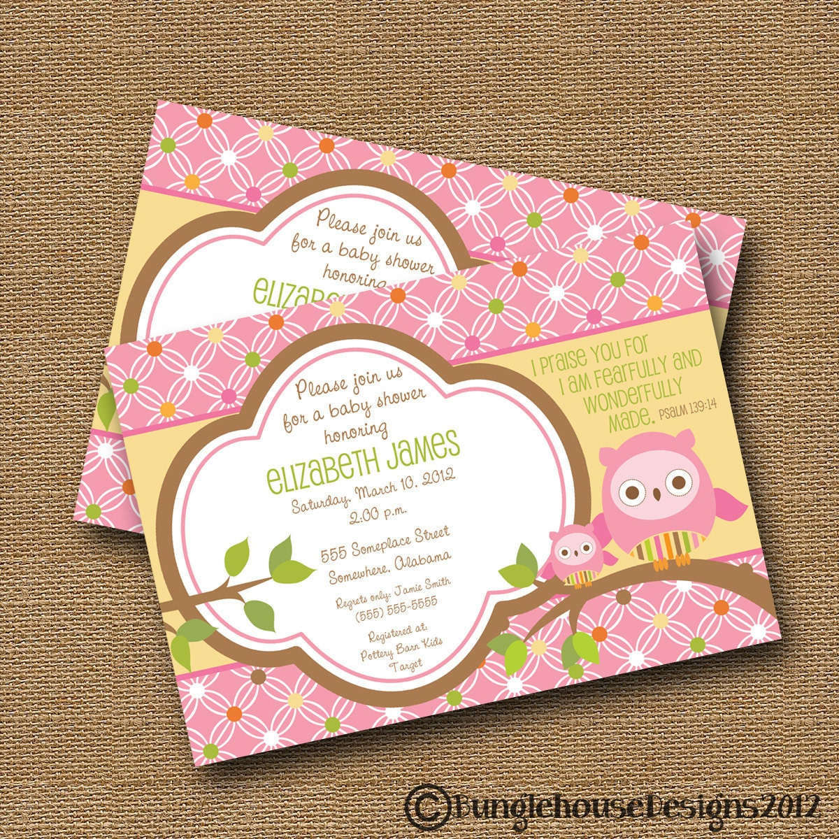 Spiritual Baby Shower Quotes: Owl Baby Shower Invitation DIY PRINTABLE Baby Girl Christian
