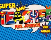 Super Teacher Poster Add-On extra name- Digital File