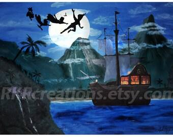 Neverland Pirate Ship Art - Digital download