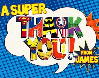 Customized Superhero Thank You card-digital