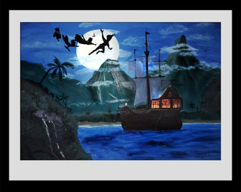 Neverland Pirate Ship Painting- Digital Download
