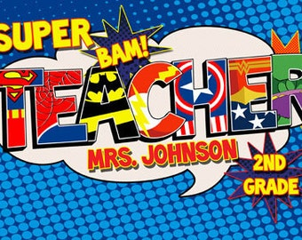 Super Teacher Poster Add-On extra name- Digital File