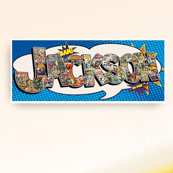 Customized Superhero name collage poster