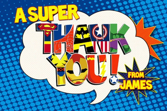 a paper on thank your hero Super hero greeting cards - customizable (includes hulk and spider-man birthday cards, invitations, thank-you cards, get well soon and more.