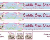 RESERVED for Cuddle Bum Diapers  - Banner Avatar Set with birds flowers and custom diaper photo