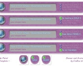 Etsy Shop / Business 4 Banner 3 Avatar Set - OOAK Purple Metal Tech Template in purple, gray and has blue and green highlights.