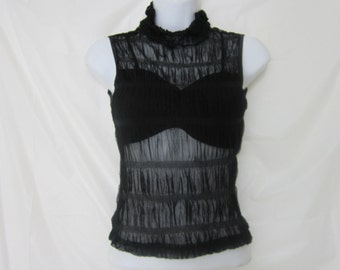 Black Rouche High Neck Top